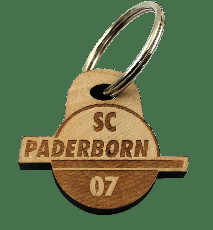 Schlüsselanhänger Logo Holz